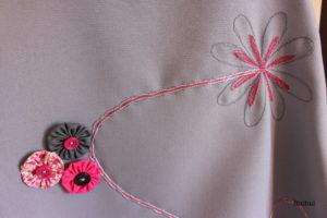 les cordonnets cousus pour donner du mouvement et du relief à la robe Sereine