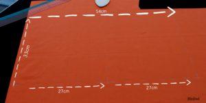 explication du tracé des rectangles qui forment le sac à coulisse orange à tête de citrouille