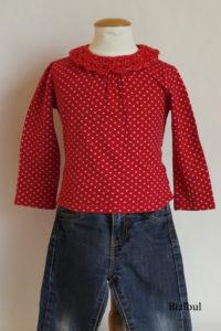 la tenue à adopter avec un col à poser est celle de tous les jours : jean et tee shirt basique avec col rouge
