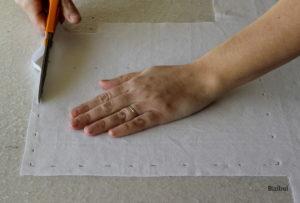 technique de couture, la découpe du tissu à l'aide de ciseaux tailleur ou de ciseaux de lingère