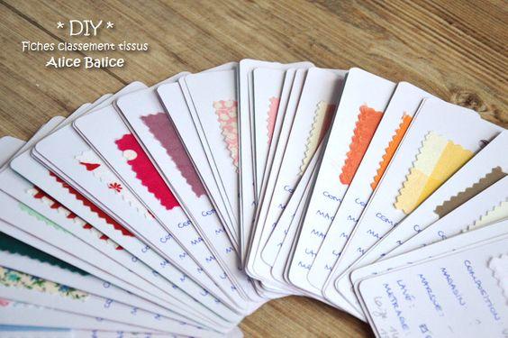 répertorier les tissus à l'aide de fiche sur lesquelles on indique la quantité, la qualité du tissu et on y colle un coupon
