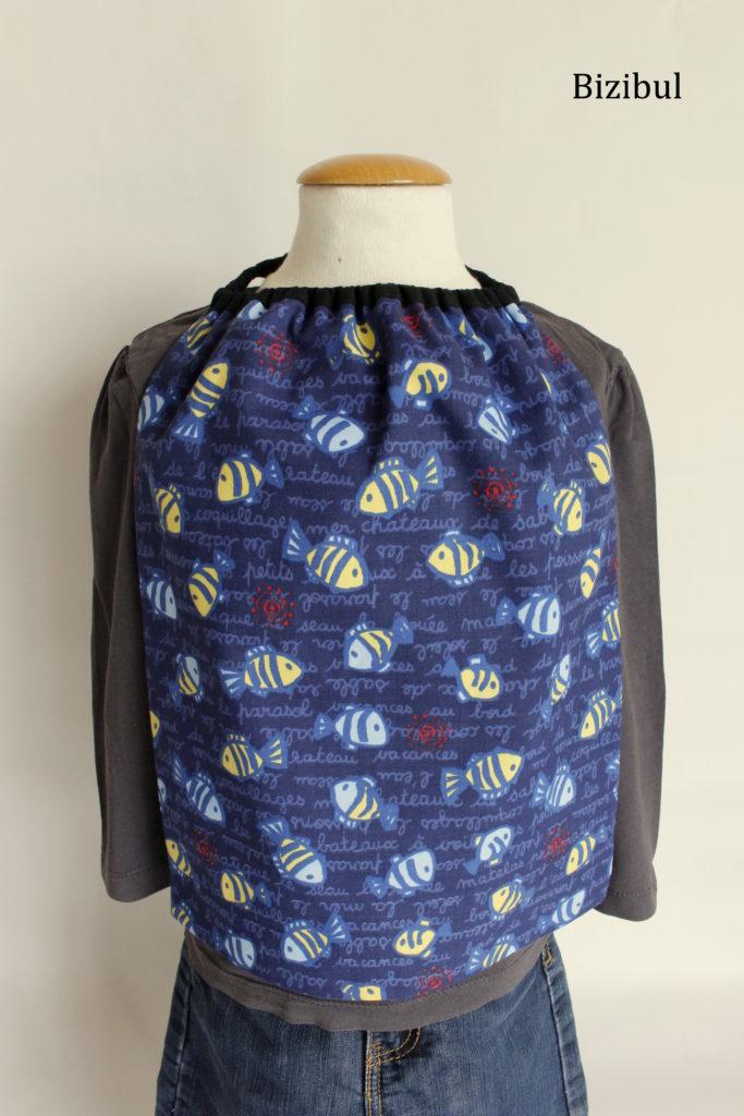 serviette de table à élastique poissons bleus