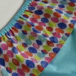 jupe à pans turquoise et multicolore vue détail