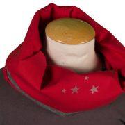 snood coton rouge et sweet gris foncé