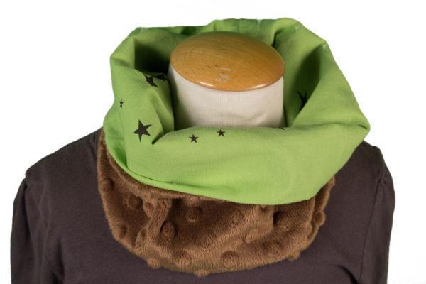 snood bébé vert et polaire beige à relief