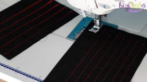exercice de piqure droite et zigzag en cours d'initiation à la couture machine à l'atelier Bizibul Port-Saint-Père, proche Nantes, Pornic, Saint-Nazaire