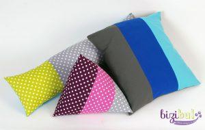 les housses de coussin sont des projets faciles de cours de couture bizibul différentes formes proposées, fermeture portefeuille ou à boutons ou à zip
